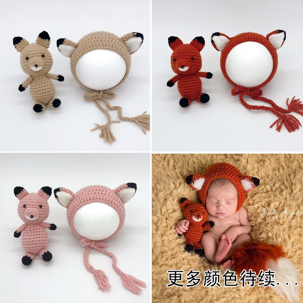 Cross Border Photography Clothing Newborns Handmade Yarn Fox Doll Long er duo mao Infant Cartoon Yarn Toy