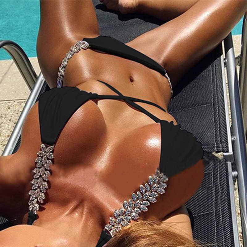 Białe bikini zestaw nowy kryształ bikini 2019 bandaż strój kąpielowy kobiet trójkąt stroje kąpielowe kobiety kąpiących się stanik strój kąpielowy
