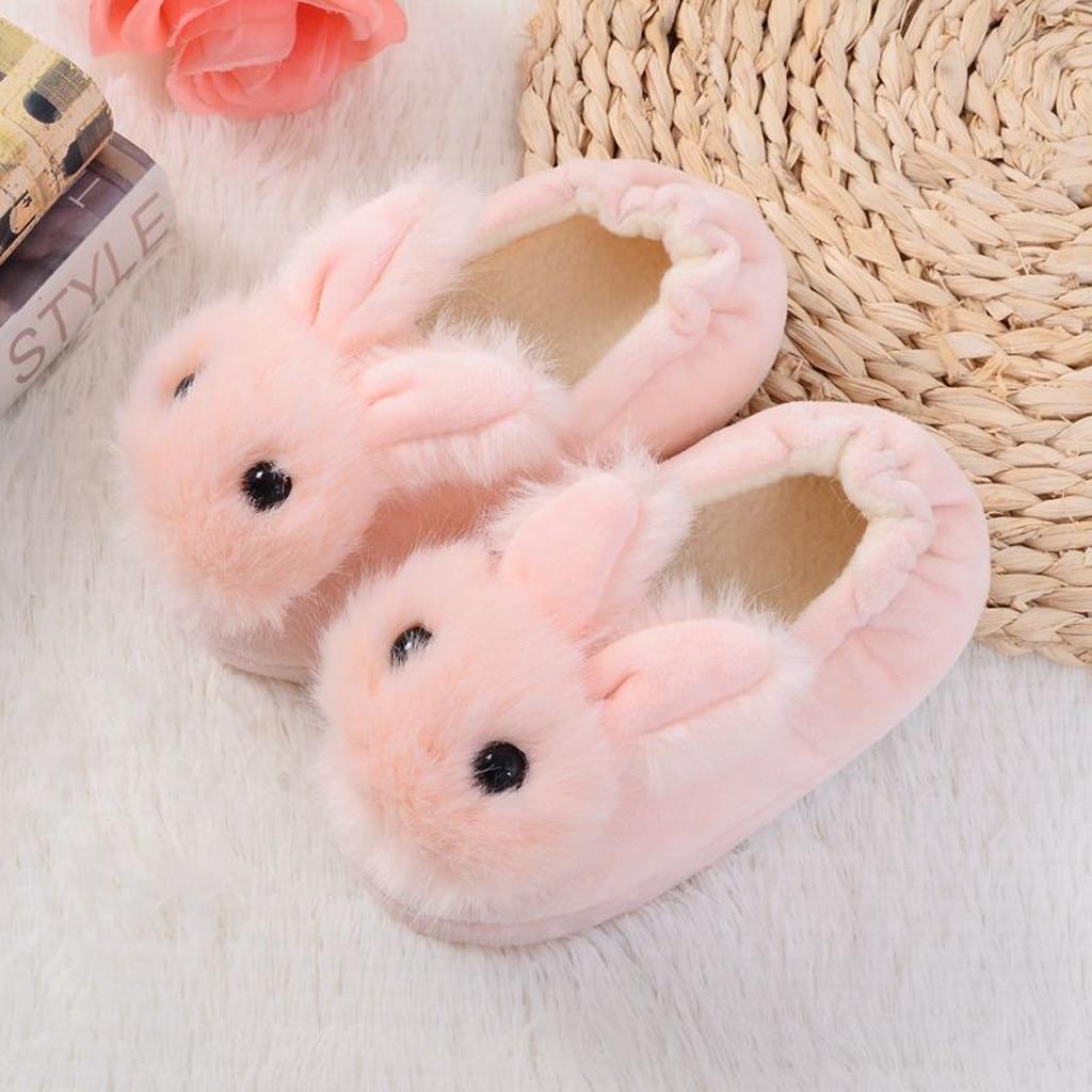 H4be8bd2b53994ed180dd799677935316b Sapatos para crianças de algodão, sapatos para crianças meninos e meninas de outono, chinelos fofos com orelhas de coelho, espessamento de bola, sapatos internos