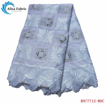 Alisa White Design Swiss Voile Lace In Switzerland For Sewing Clothes Embroidery Nigerian Lace Fabric With Stones B977712-80C