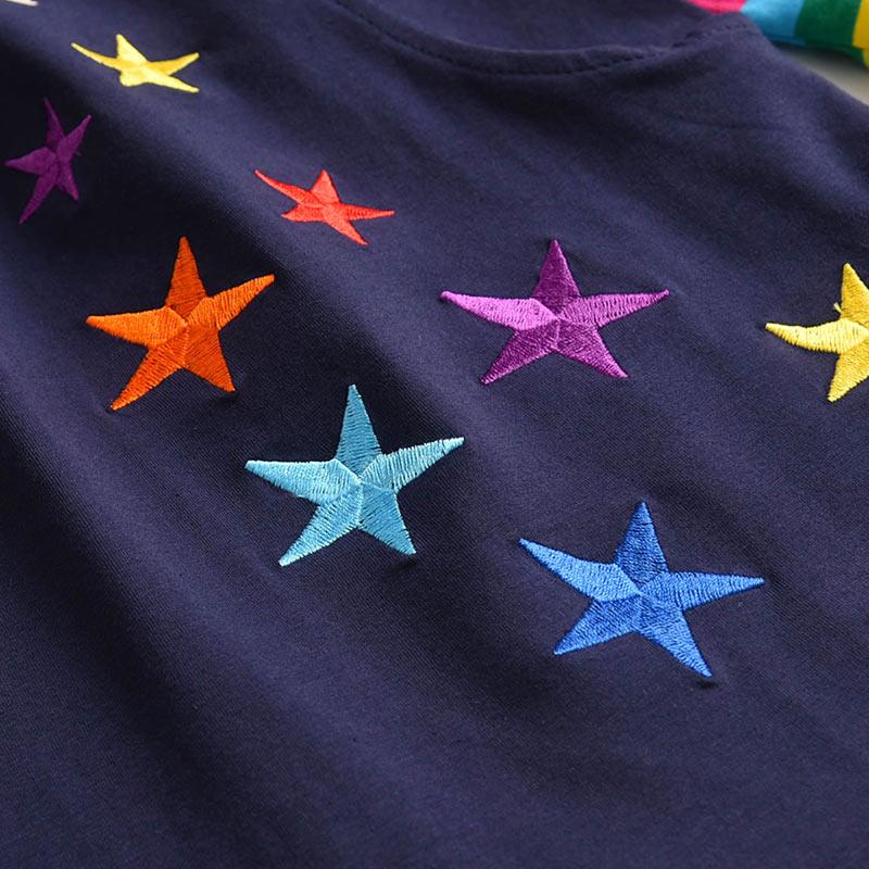 H4be8c1fec8974be69568d4cea00ec68fZ VIKITA Girls Cotton Dress Long Sleeve Children Patchwork Vestidos Kid Dresses for Girls Clothes Toddlers Cartoon Princess Dress