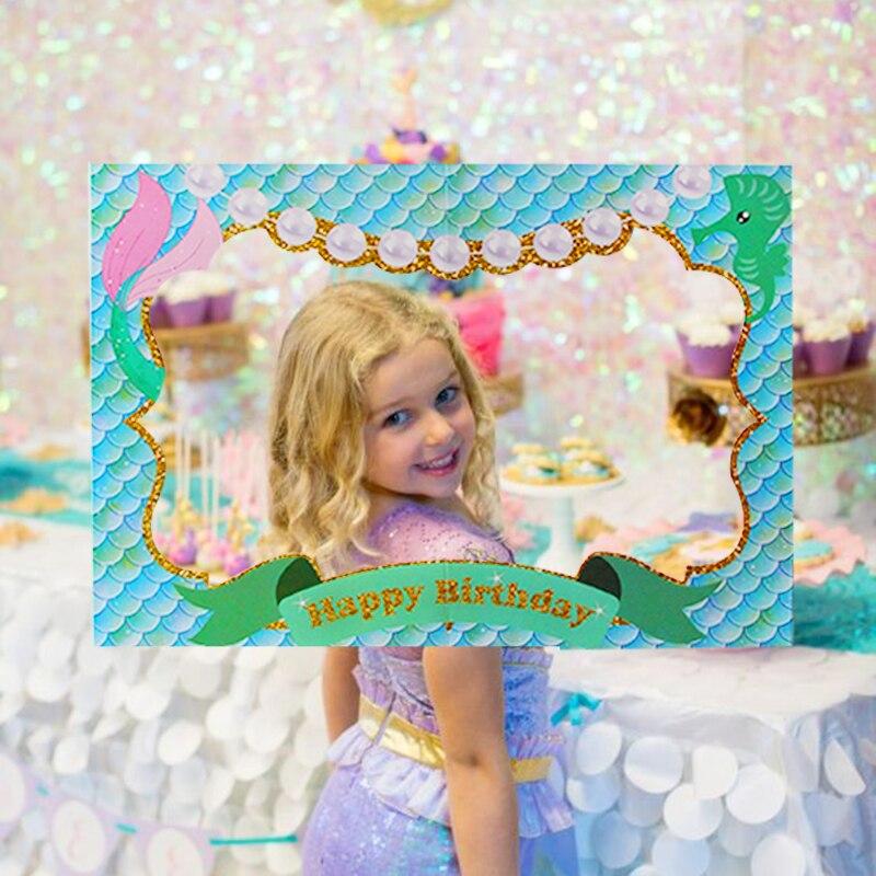 Mermaid Party Decor Mermaid Themed Photo Frame Headband Bracelets Tattoo Stickers Birthday Party Decoration Photo Booth Props