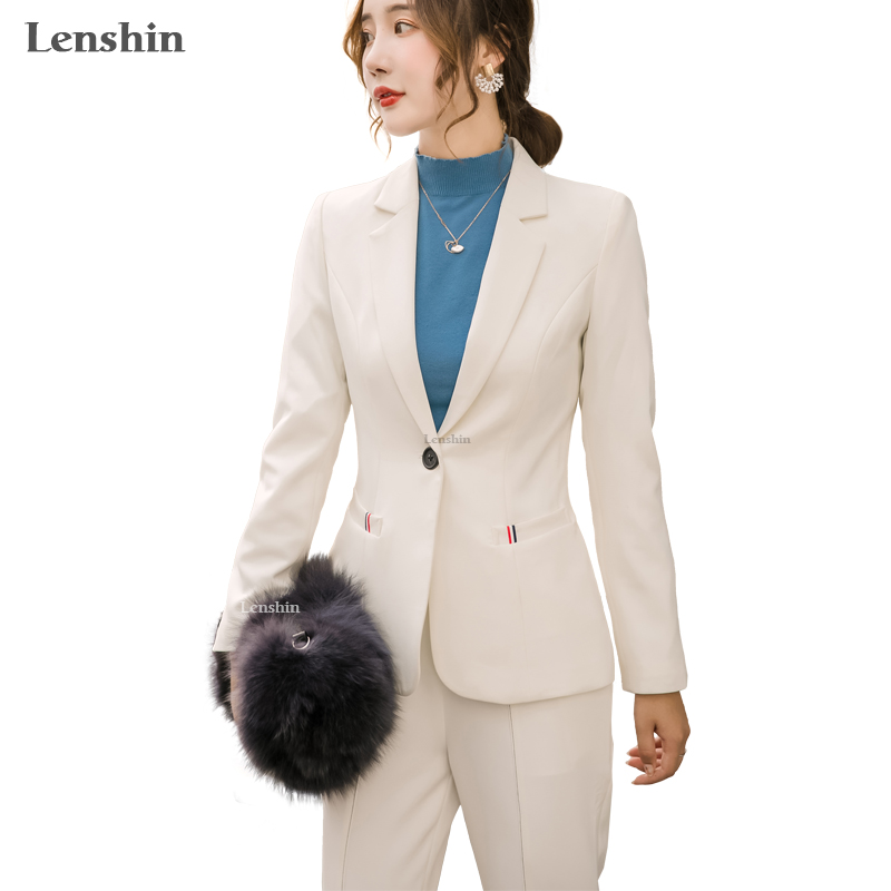 Lenshin High-quality 2 Piece Set Fashion Pant Suit Office Lady Designs Women Business Blazer Jacket And Flared Trousers