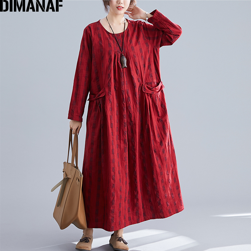 Image 4 - DIMANAF Plus Size Women Dress Winter Vintage Elegant Lady Vestidos Print Plaid Long Sleeve Female Clothes Loose Long Dress 2019-in Dresses from Women's Clothing