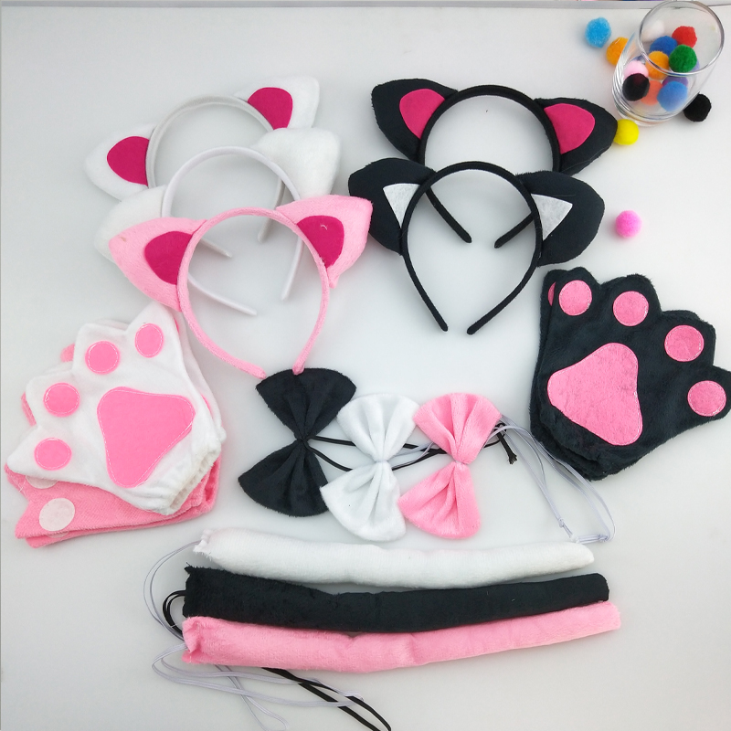 Boy Girl Kids Balck Fox Cat Headband Bow Tie Tail Paws Gloves Cosplay Costume Set  Party Fancy Dress Up Props Halloween Carnival