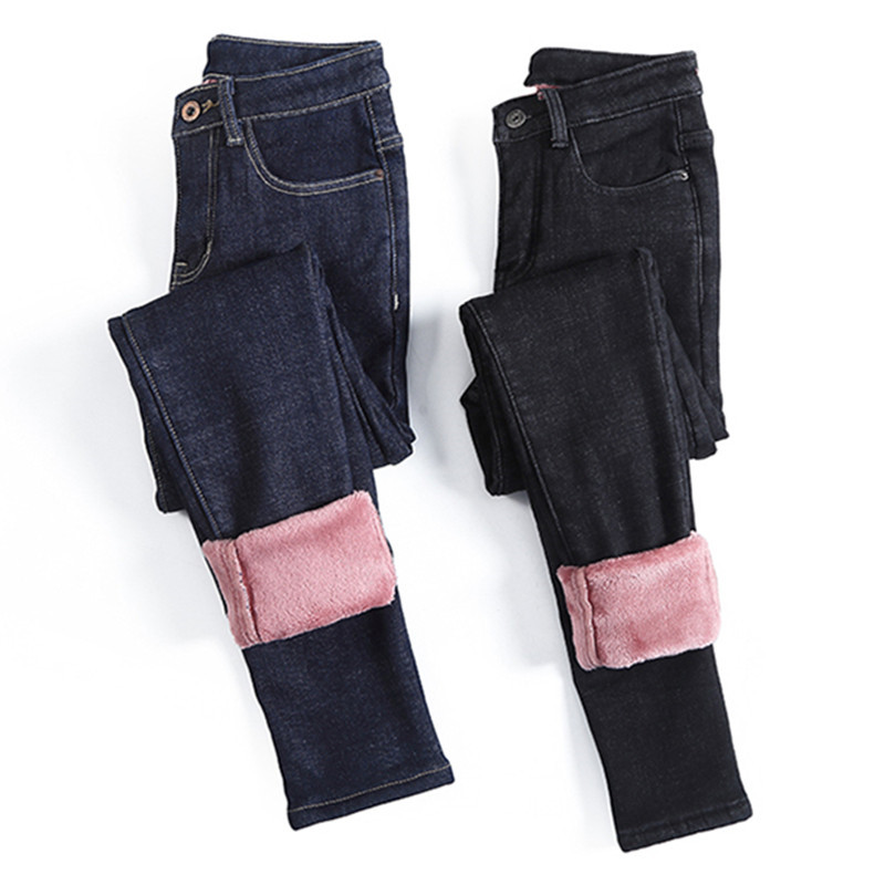 Winter Fleece Warm Jeans Women Black Blue Thickening Jean Sexy Slim Denim Pencil Pants Fashion Solid Jean Pants Streetpant P9189