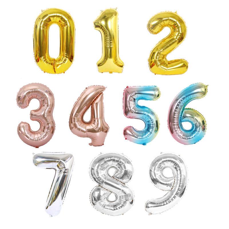 40 ''32'' 16 ''Pollici Numero Stagnola Aerostato di Aria Elio Figure Palloncini Buon Compleanno Decorazioni Festa per Bambini per Adulti da Sposa Palle