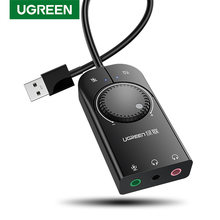 Ugreen Kartu Suara USB Antarmuka Audio Eksternal 3.5Mm Mikrofon Audio Sound Card untuk Laptop PS4 Headset USB Sound Card(China)