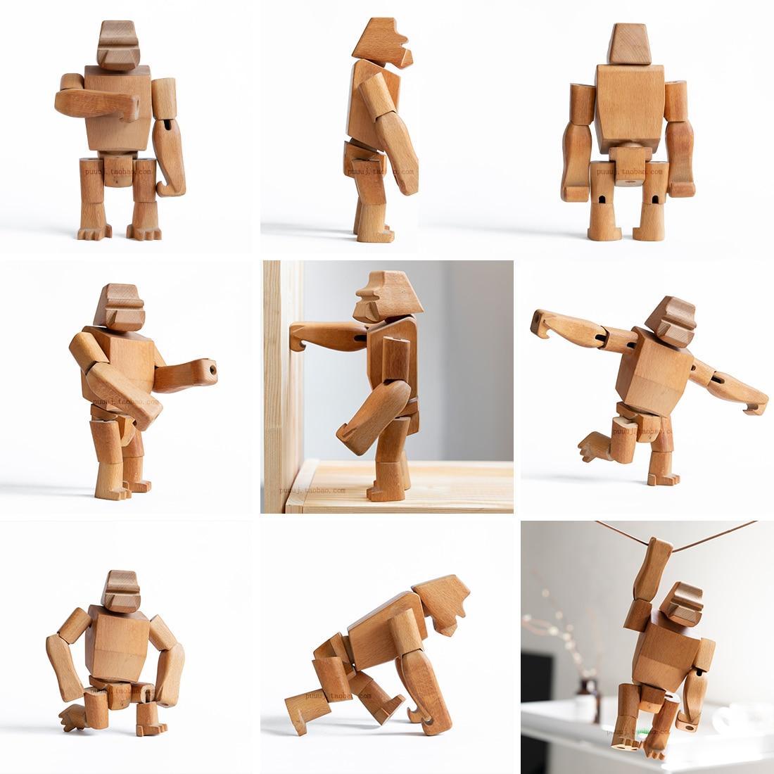 Handmade Wooden Figurine Monkey Orangutan Kids Room Bedroom Living Room Home Decoration Accessories Ornaments Holiday Gift Toys