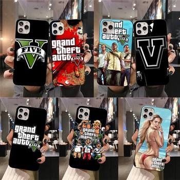 Grand Theft Auto GTA V Silicone Black Phone Case for iPhone 11 pro XS MAX 8 7 6 6S Plus X 5S SE 2020 XR case image