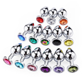 Small/Medium Intimate Metal Anal Plug With Crystal Jewelry Smooth Butt Plug Anal Bead Anus Dilator Anal Sex Toys for Men/Women