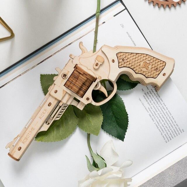 Robotime Gun Building Blocks DIY Revolver,Scatter with Rubber Band Bullet  Wooden Popular Toy Gift for Children Adult 15