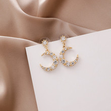 купить Dominated 2019 new personality metal Moon Modelling design Drop earrings contracted Vintage style fine Crystal Women Jewelr по цене 114.63 рублей
