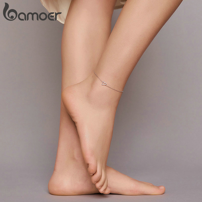 bamoer Sterling Silver 925 Jewelry Simpler Stick Figure Chain Foot Anklet for Women Prevent Allergy Foot Bracelet Jewelry SCT017