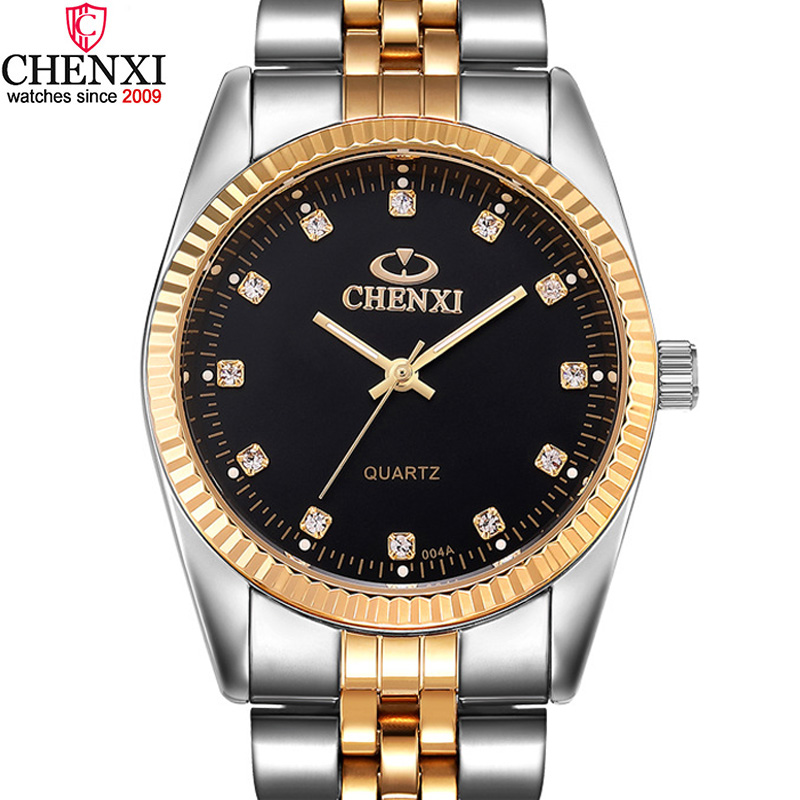 CHENXI Luxury Men Watch Silver Between The Gold Rhinestone Lover's Wristwatch Nail Strap Classic Retro Man Women Business Watch