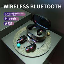 A6S Bluetooth Headsets Voor Redmi Airdots Draadloze Oordopjes 5.0 Tws Oortelefoon Noise Cancelling Microfoon Voor Xiaomi Iphone Huawei Samsung