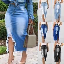 !!!! Jupe longue en jean déchiré pour femmes, taille haute, coupe ajustée, moulant, vente en gros