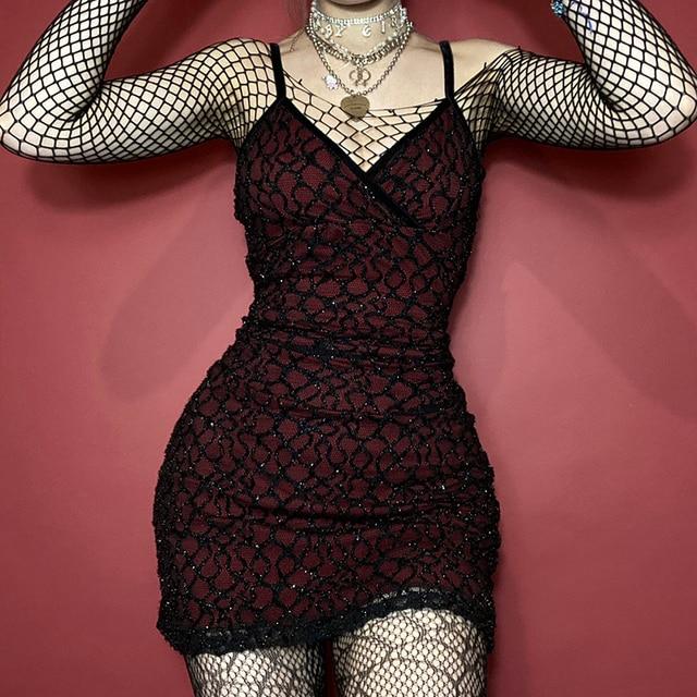 InsGoth Gothic Sexy V Neck Red Dress Grunge Bodycon Backless High Waist Mini Dress Goth Vintage Sleeveless Women Dress Club Wear 2