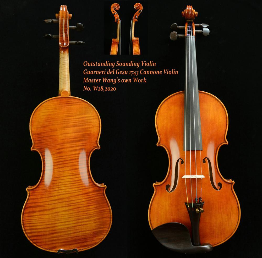 Violin Master-Wang's 1743 Outstanding Photo-Guarneri Own-Work ACTUAL Sound-No.w28
