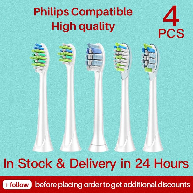 4 шт Philips Sonicare головки Замена Зубная щётка головки для Philips Sonicare Flexcare Бриллиант Чистой Здоровый Белый легко чистить