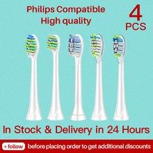 4 pçs philips sonicare cabeças substituição escova de dentes cabeças para philips sonicare flexcare diamante limpo branco saudável fácil limpo