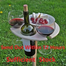 Outdoor Wine Table Mini Wooden Round  Portable Foldable Desktop Easy Carry Desk Furniture Party Travel Picnic Folding Low Tables