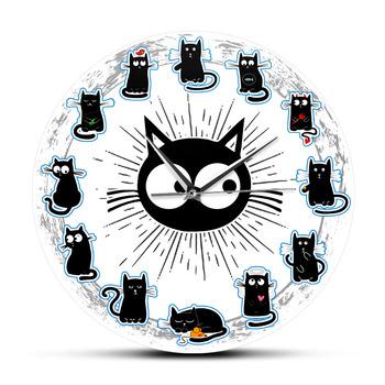 Czarne koty radość styl zegar ścienny kocięta Wall Art cichy zegar koty kreskówki pokój dziecięcy przedszkole dekoracyjny zegar ścienny miłośnik kotów prezent tanie i dobre opinie The Vinyl Clock CN (pochodzenie) KRÓTKI CZ-0557 circular Akrylowe 30cm Jedna twarz 300mm QUARTZ ZAGARY ŚCIENNE Printed Wall Clock