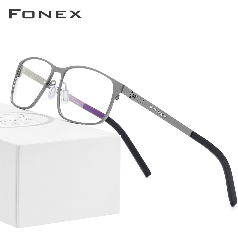 FONEX Alloy Optical Glasses Frame Men Ultralight Square Myopia Prescription Eyeglasses 2019 Male Full Korea Screwless Eyewear