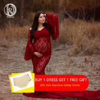Don&Judy New Maternity Dresses For Photo Shoot Lace Maxi Maternity Gown Clothes For Pregnant Women Pregnancy Dress Photography