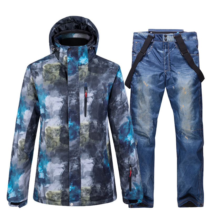 Winter Men Ski Suit Super Warm Windproof Sports Clothes Ski Jackets Outdoor Snow Pants Suits Male Skiing Snowboarding Sets -40