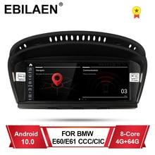 EBILAEN-reproductor Multimedia para coche, unidad frontal de Radio, 4G, Android 10,0, para BMW serie 5, E60, E61, E62, Serie 3, E90, E91, CCC, CIC