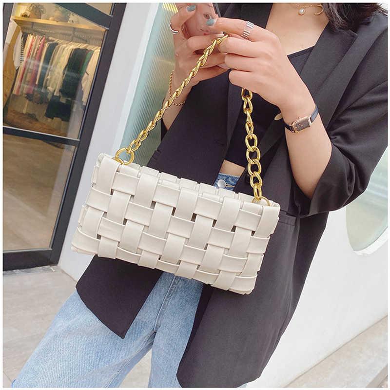 Fashion Chain Tas Bahu Untuk Wanita PU Kulit Crossbody Bag Warna Solid Tas All-match Desainer Populer Baguette tas