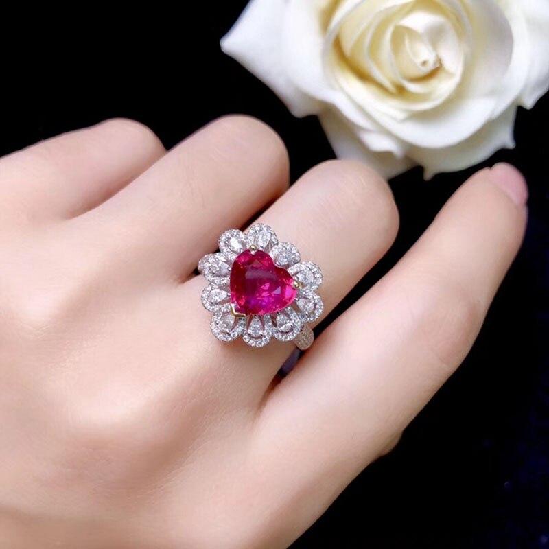Le laboratoire d'anneau en or 10K a créé la bague de diamant de rubis et de Moissanite de 2ct avec le certificat national Ru-003 - 4