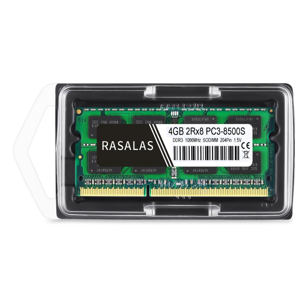 Rasalas 4 GB 2Rx8 PC3-8500S DDR3 1066Mhz SO-DIMM 4 GB 1,5V Notebook RAM 204Pin Laptop Geheugen sodimm NO-ECC