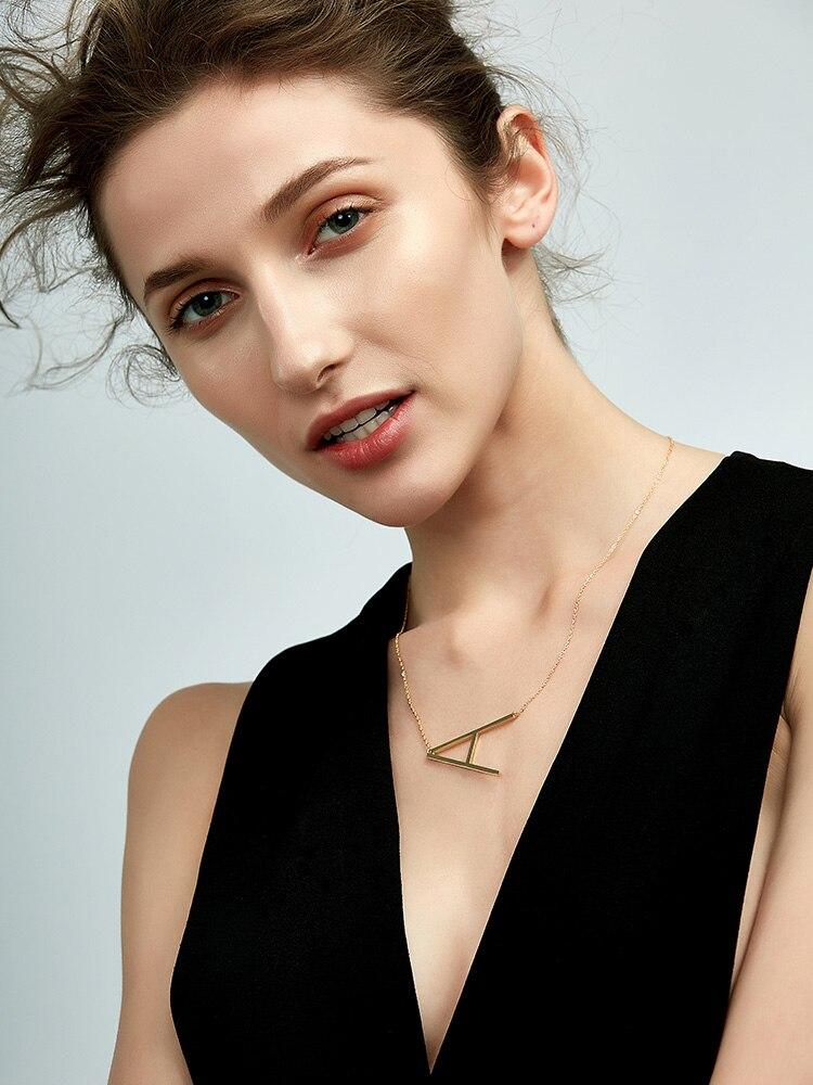 EnFashion Letter Necklaces Alphabet Initial Pendants Necklace Gold Color Stainless Steel