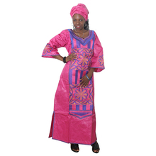 MD 2019 african dresses for women embroidered bazin riche dress with headwrap south africa lady long traditional clothes