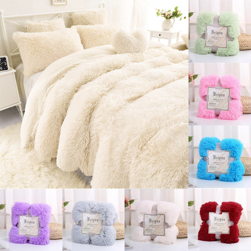 New Super Soft Shaggy Fur Blanket Ultra Plush Decorative Blanket 130*160cm/160*200cm Winter Blankets For Bed Sofa Blanket