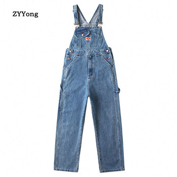 цена на 2020 New Denim Bib Overalls Jeans Mens Cargo Work Pants Multiple Pockets Pant Coveralls Men Straight Loose Dark Blue Trousers