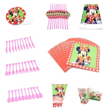 Disney Cartoon Red Minnie Mouse Party Plates cup banner Disposable tableware Girl birthday Idea party decorations party supplies image