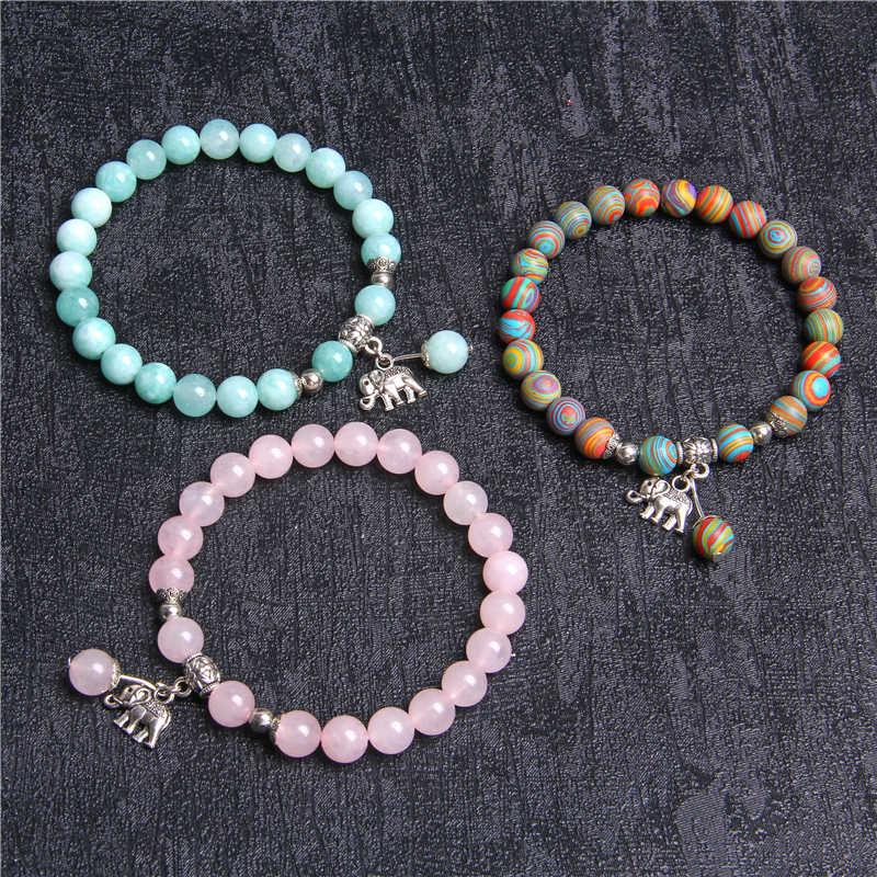 Fashion Design Boho Charm Armbanden Vrouwen Natuurlijke Rose Quartzs Kralen Bangle Voor Mannen Olifant Uil Hanger Armband Vrouwen Sieraden