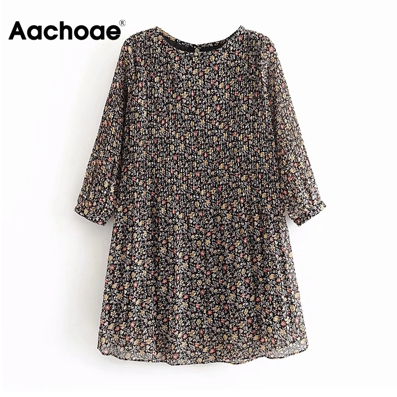 Aachoae Casual O Neck Floral Chiffon Dress Women Summer Pleated Three Quarter Sleeve Loose Mini Dress Hollow Out Dress Sundress