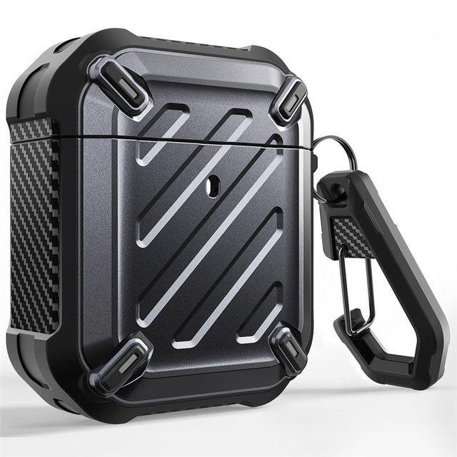 Full Body Rugged Protective Case Cover with Carabiner For Apple Airpods 1st & 2nd,SUPCASE UB Pro Case Designed For Airpods 1 & 2