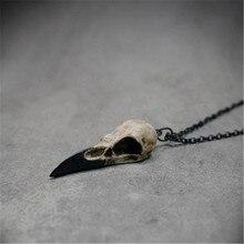 VILAGE – collier à la mode 2021, nouvelle réplique de crâne de corbeau, en résine, hippie, Poe, idée cadeau Steampunk, Zombie