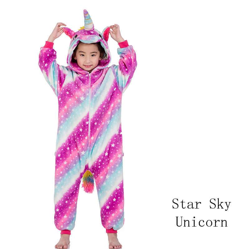 Kigurumi Unicorn Onesies ילדים חורף Onesies בנות בני הלבשת פיג 'מה סטי תפר טייגר האריה בעלי החיים פיג' מה ילדים Onesies