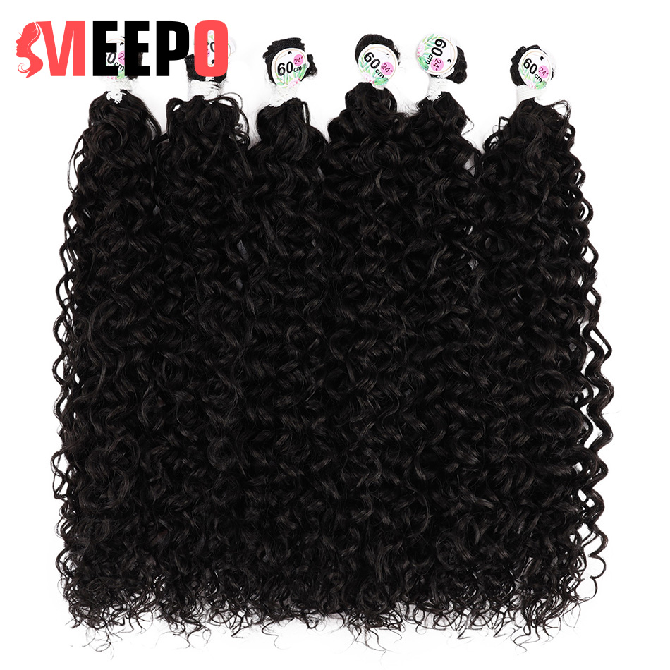 MEEPO Synthetic Curly Hair Bundles Afro Kinky Curly Hair Dark Brown 60cm 65cm 70cm 6 Pcs Heat Resistant For Women