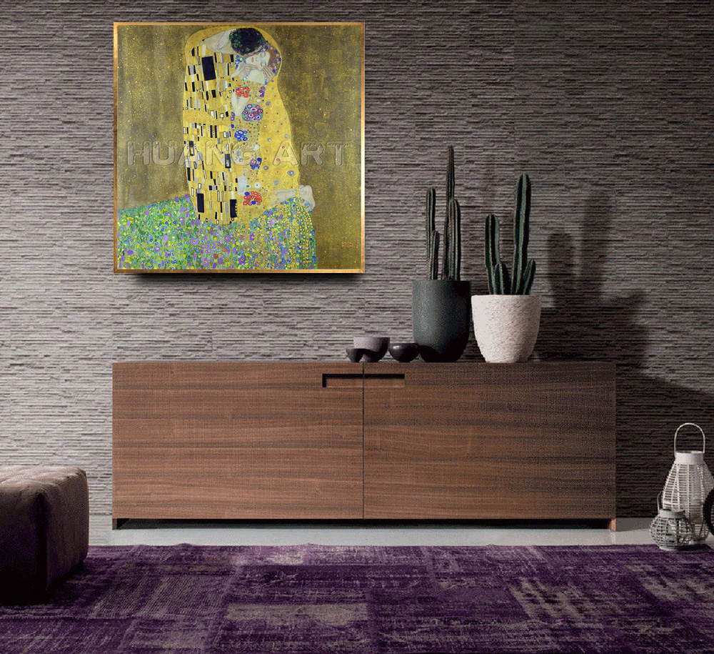 Famous High Quality KISS Painting Hand Painted Oil Painting on Canvas for Room Decor Imitation Painting Gustav Klimt Wall Art - 3