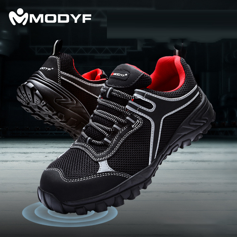 MODYF Men's Steel Toecap Work Safety Shoes Breathable Anti-smashing Anti-puncture Non-slip Construction Protective Footwear