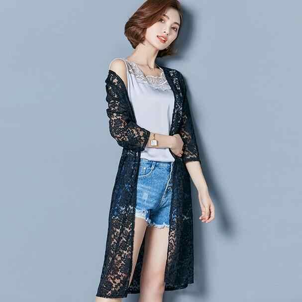 Phụ Nữ Đi Biển Mùa Hè Ren Áo Khoác Cardigan Kimono Plus Kích Thước Quần Áo Thấy Thông Qua Trong Suốt Chiffon Áo Khoác Áo Sơ Mi Áo AH892