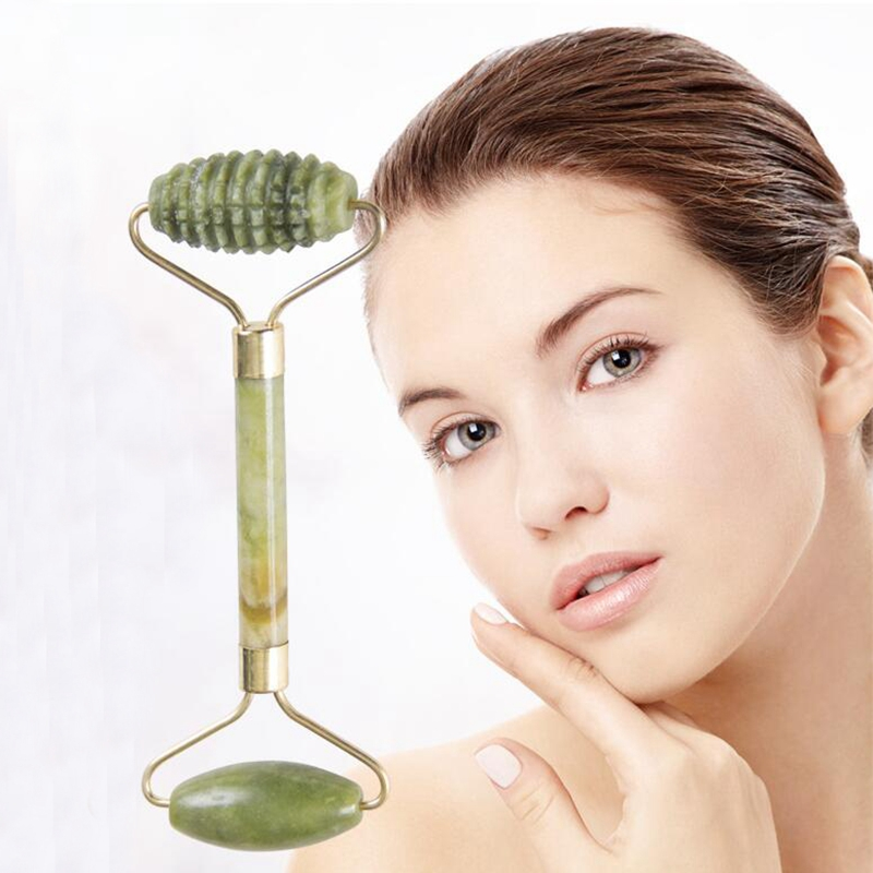 1PCS Facial Beauty Massage Tool Natural Double Head Jade Roller Face-lift Massager Relaxation Anti Wrinkle Health Care Tools