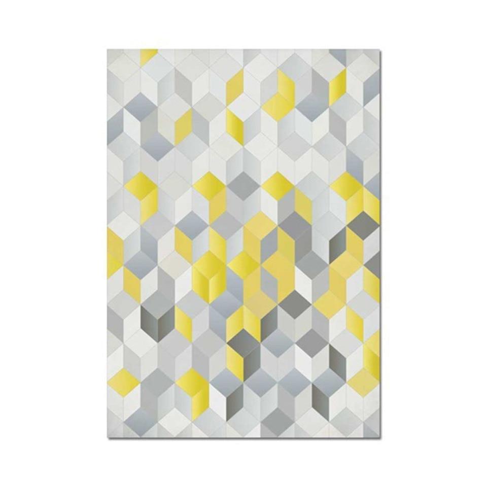 Tapis De Sol Long Imprime En 3d Geometrique Nordique Avec Impression Cubique Pour Cuisine Et Chambre A Coucher Aliexpress